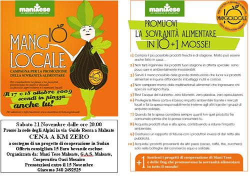 """ManiTese organizza la """"Cena a Km zero!"""""""