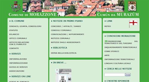 Il sito web del Comune di Morazzone