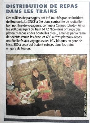 Articolo di giornale treni Francia