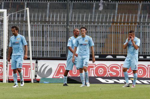 L'Albinoleffe dopo la sconfitta di Ascoli (foto dal sito www.albinoleffenews.com)