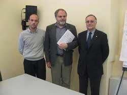 Il presidente regionale Mori a destra, quello provinciale Ampollini ( al centro) e il direttore di SOS Tre Valli Maritan