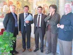 Il Consiglio di Amministrazione: da sinistra Giola, il rettore Baggio, Bottinelli, Zorzi e Giorgetti