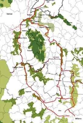 I tracciati delle piste ciclabilli tra Milano e la Svizzera
