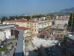 L'area del cantiere all'interno dell'ospedale di Circolo