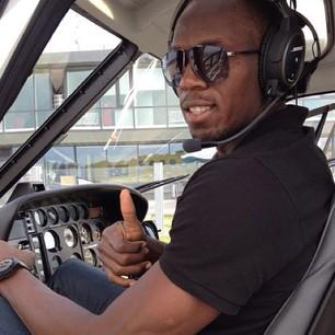 Usain Bolt in elicottero