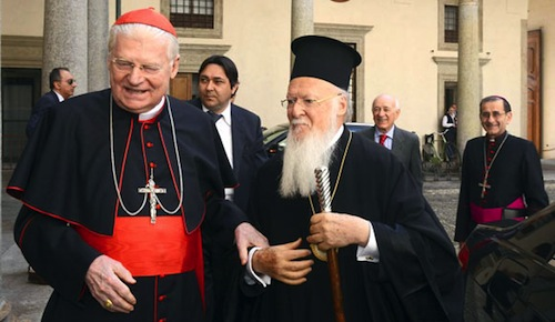 Patriarca Bartolomeo con monsignor Angelo Scola